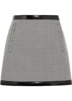 Philosophy di Lorenzo Serafini Faux leather-trimmed houndstooth wool mini skirt