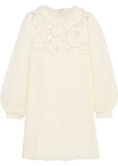 Philosophy Lace-paneled pleated chiffon mini dress