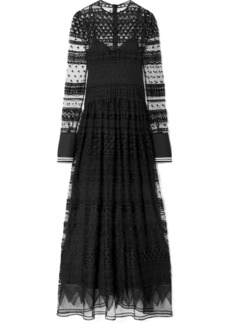 Philosophy Piqué-trimmed lace maxi dress