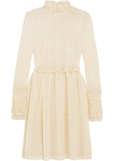 Philosophy Ruffle-trimmed stretch pointelle-knit mini dress