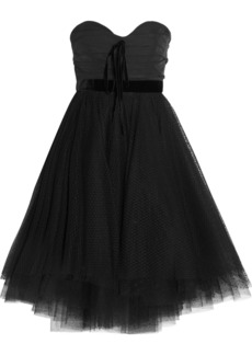 Philosophy Velvet-trimmed faille and Swiss-dot tulle dress