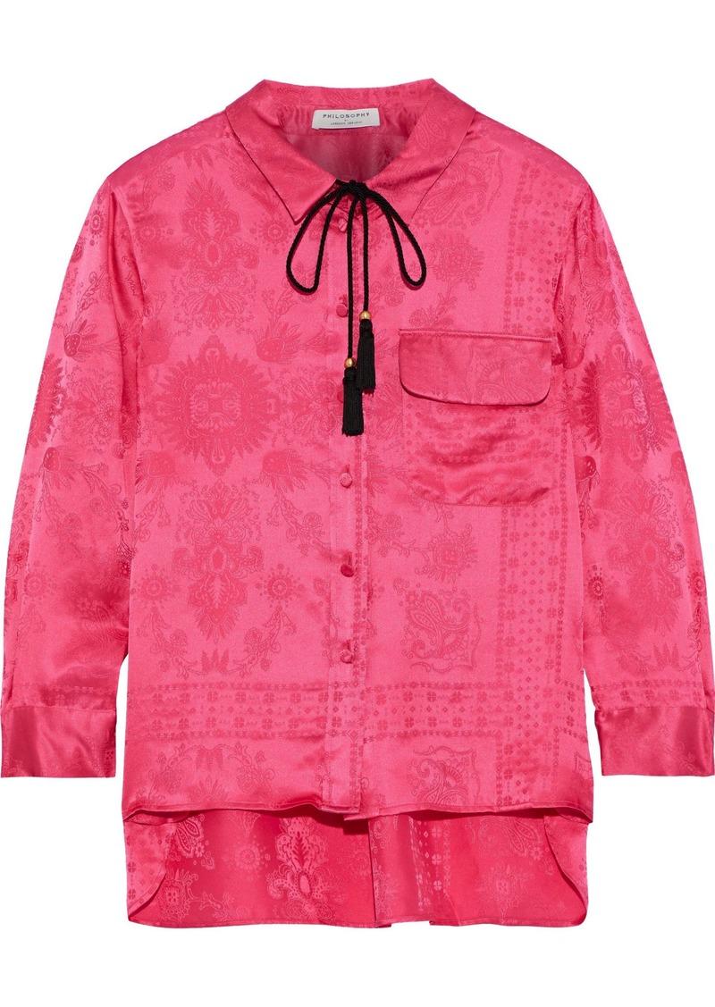 Philosophy Di Lorenzo Serafini Woman Tasseled Silk-jacquard Shirt Bright Pink