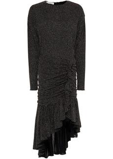 Philosophy Di Lorenzo Serafini Woman Asymmetric Ruched Glittered Jersey Dress Black