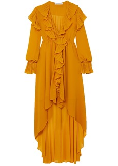 Philosophy Di Lorenzo Serafini Woman Asymmetric Ruffled Crepon Midi Dress Saffron