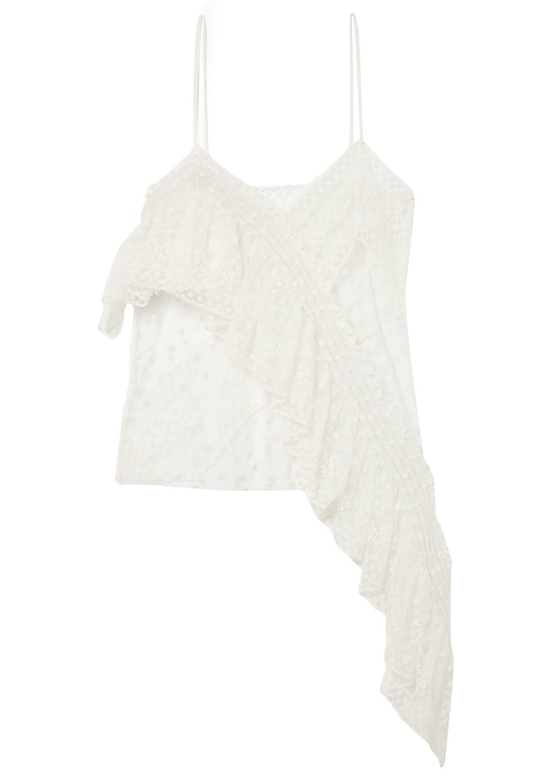 Philosophy Di Lorenzo Serafini Woman Asymmetric Ruffled Embroidered Tulle Camisole Ivory