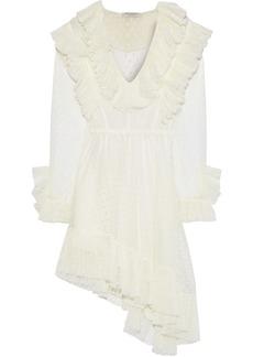 Philosophy Di Lorenzo Serafini Woman Asymmetric Ruffled Swiss-dot Tulle Mini Dress Ivory
