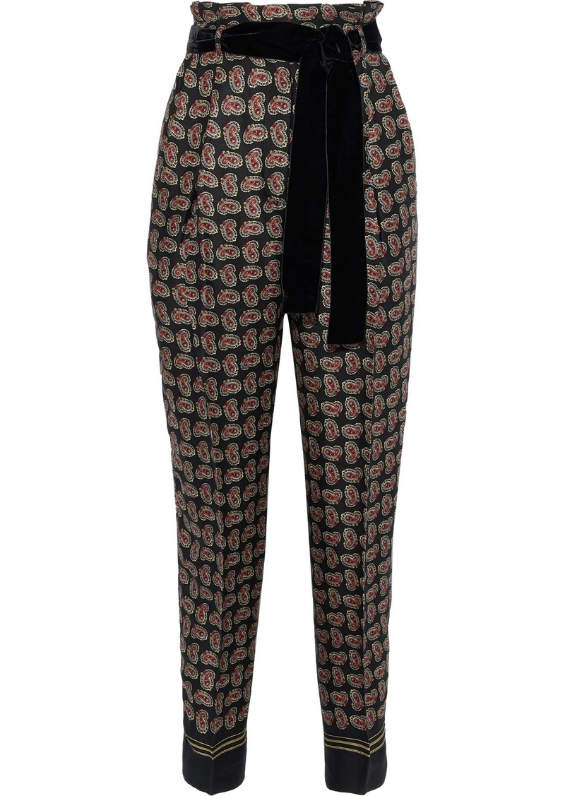 Philosophy Di Lorenzo Serafini Woman Belted Printed Crepe Tapered Pants Black