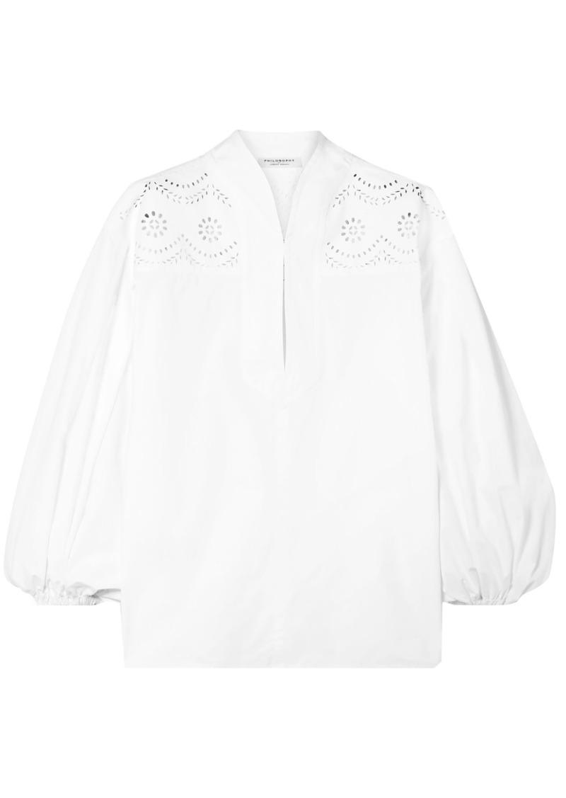Philosophy Di Lorenzo Serafini Woman Broderie Anglaise Cotton-poplin Blouse White
