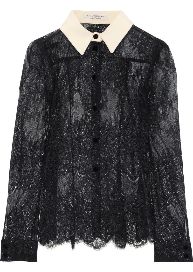 Philosophy Di Lorenzo Serafini Woman Cady-trimmed Metallic Chantilly Lace Blouse Black