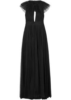 Philosophy Di Lorenzo Serafini Woman Cape-effect Cutout Point D'esprit Halterneck Gown Black