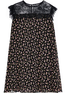 Philosophy Di Lorenzo Serafini Woman Chantilly Lace-paneled Floral-print Silk-chiffon Mini Dress Black