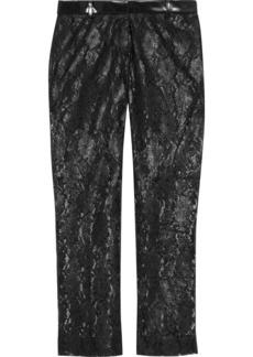 Philosophy Di Lorenzo Serafini Woman Coated Lace Straight-leg Pants Black