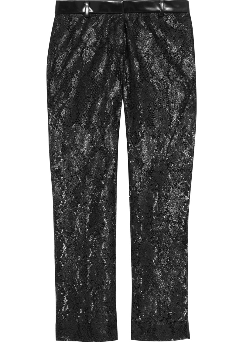 Philosophy Di Lorenzo Serafini Woman Coated Lace Straight-leg Pants Black