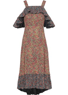 Philosophy Di Lorenzo Serafini Woman Cold-shoulder Ruffled Floral-print Crepe Midi Dress Multicolor