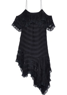 Philosophy Di Lorenzo Serafini Woman Cold-shoulder Striped Crinkled Satin-crepe Mini Dress Black