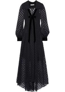 Philosophy Di Lorenzo Serafini Woman Corded Lace-paneled Bow-embellished Crocheted Maxi Dress Black