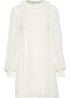 Philosophy Di Lorenzo Serafini Woman Layered Corded Lace And Pleated Chiffon Mini Dress Off-white