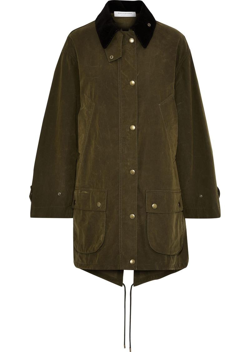 Philosophy Di Lorenzo Serafini Woman Corduroy-trimmed Cotton-blend Parka Army Green
