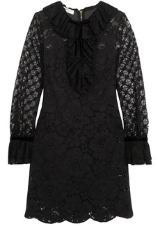 Philosophy Di Lorenzo Serafini Woman Cotton-blend Corded Lace Mini Dress Black