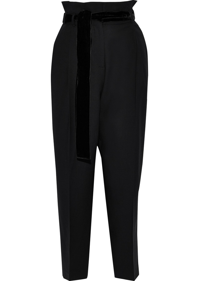 Philosophy Di Lorenzo Serafini Woman Cropped Belted Twill Tapered Pants Black