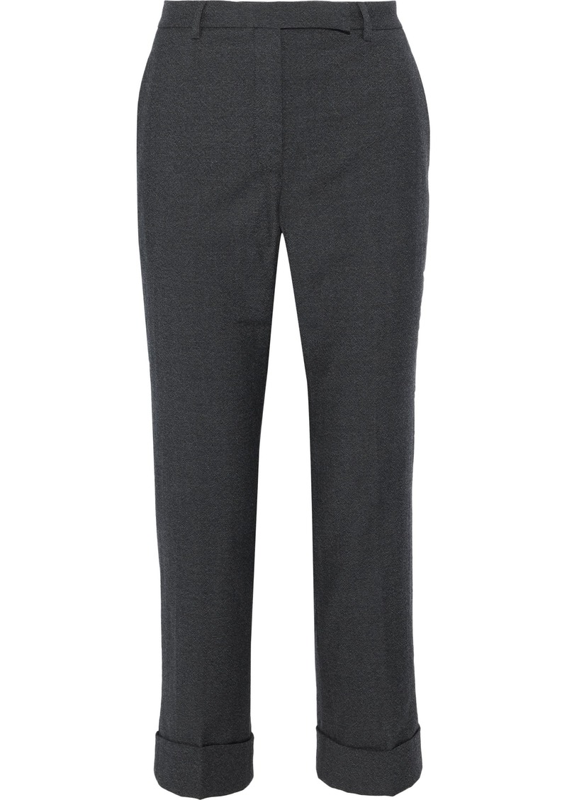 Philosophy Di Lorenzo Serafini Woman Cropped Brushed-wool Straight-leg Pants Dark Gray