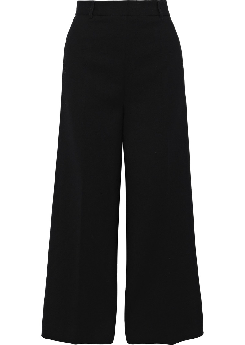 Philosophy Di Lorenzo Serafini Woman Cropped Crepe Wide-leg Pants Black