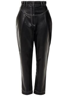 Philosophy Di Lorenzo Serafini Woman Pleated Faux Leather Tapered Pants Black