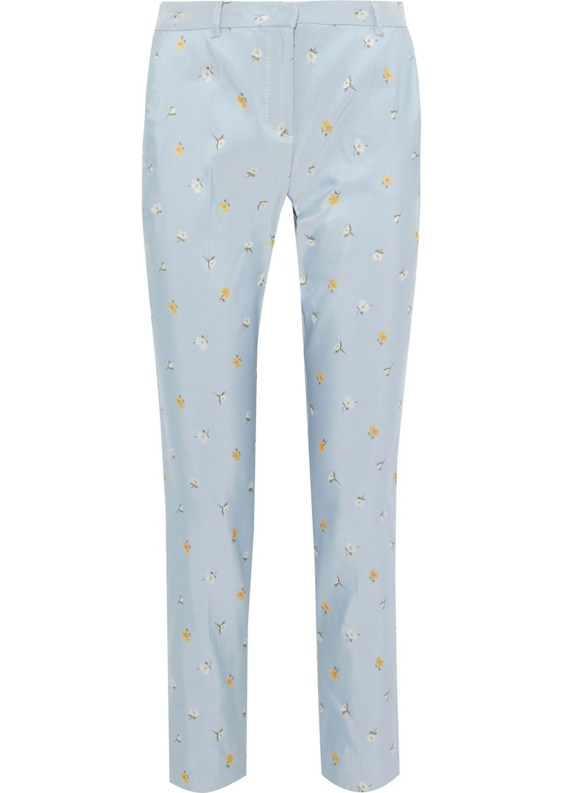 Philosophy Di Lorenzo Serafini Woman Cropped Floral-jacquard Slim-leg Pants Light Blue