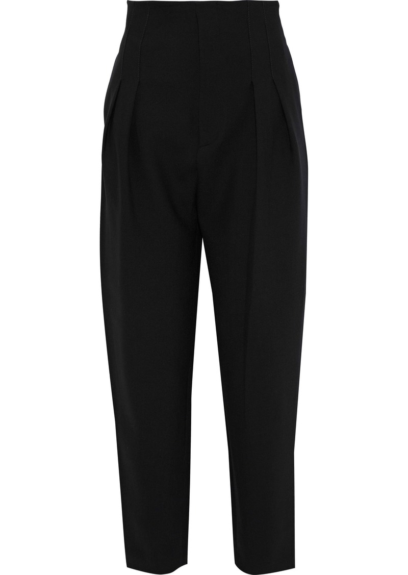 Philosophy Di Lorenzo Serafini Woman Cropped Pleated Twill Tapered Pants Black