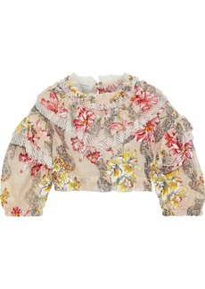 Philosophy Di Lorenzo Serafini Woman Cropped Point D'esprit-trimmed Floral-print Cotton And Silk-blend Blouse Blush