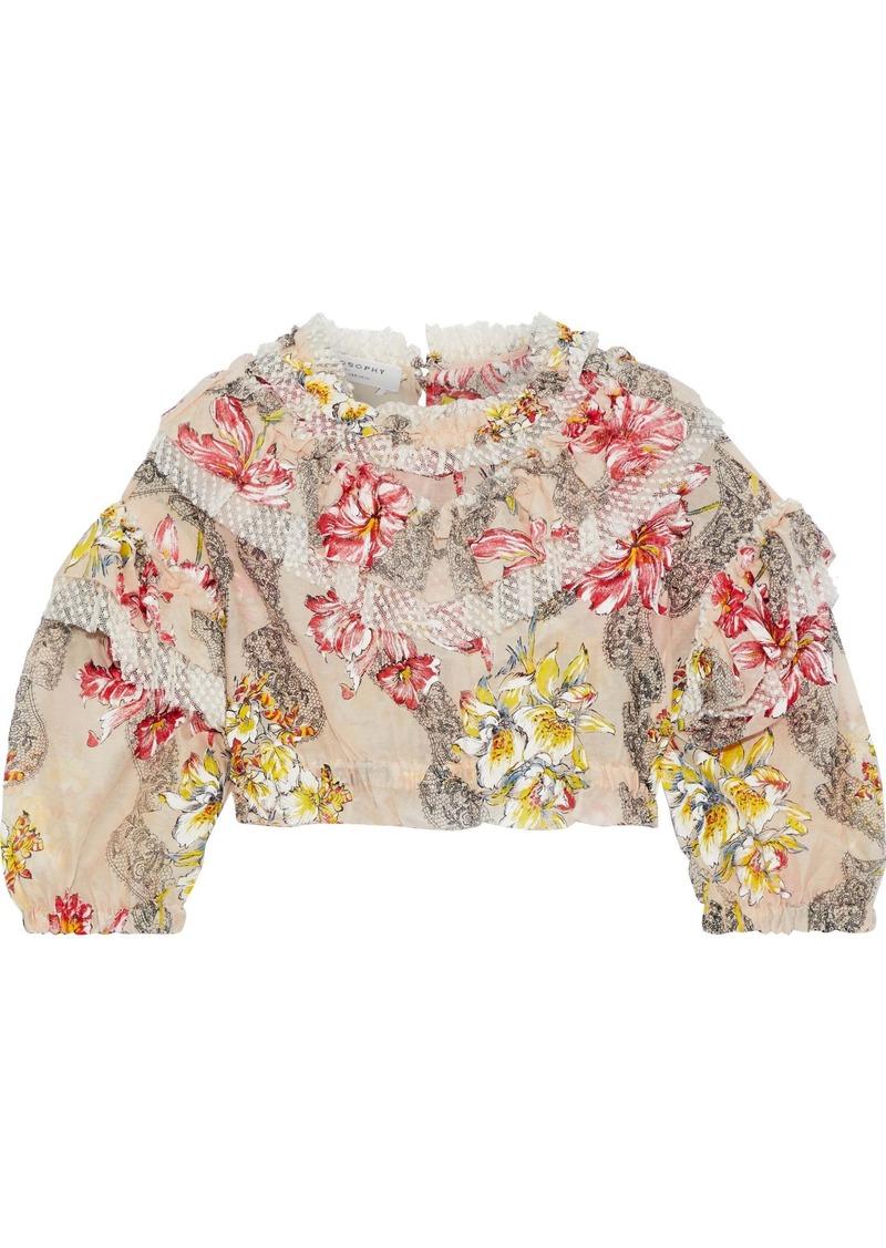 Philosophy Di Lorenzo Serafini Woman Cropped Point D'esprit-trimmed Floral-print Cotton And Silk-blend Blouse Blush