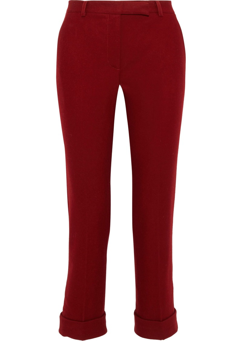 Philosophy Di Lorenzo Serafini Woman Cropped Wool-blend Felt Straight-leg Pants Red