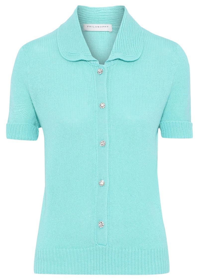 Philosophy Di Lorenzo Serafini Woman Crystal-embellished Cashmere Polo Shirt Turquoise