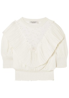 Philosophy Di Lorenzo Serafini Woman Embroidered Tulle-paneled Layered Pleated Knitted Top Off-white