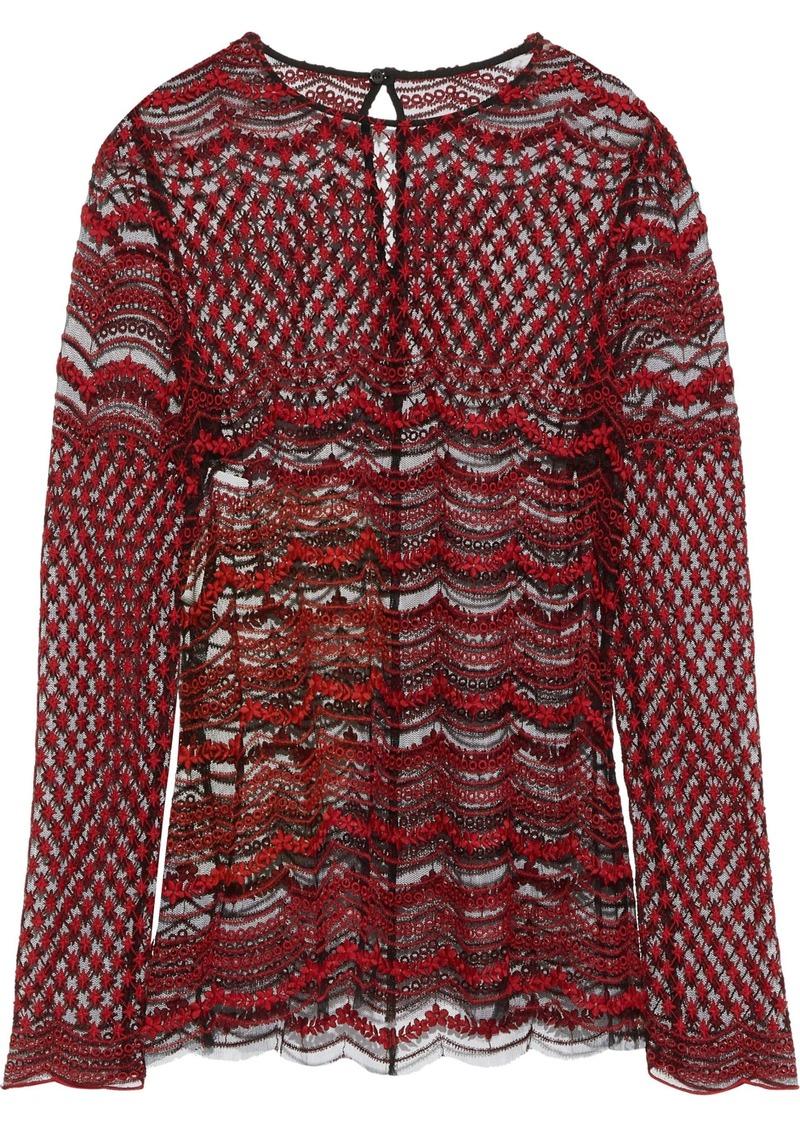 Philosophy Di Lorenzo Serafini Woman Embroidered Tulle Top Crimson