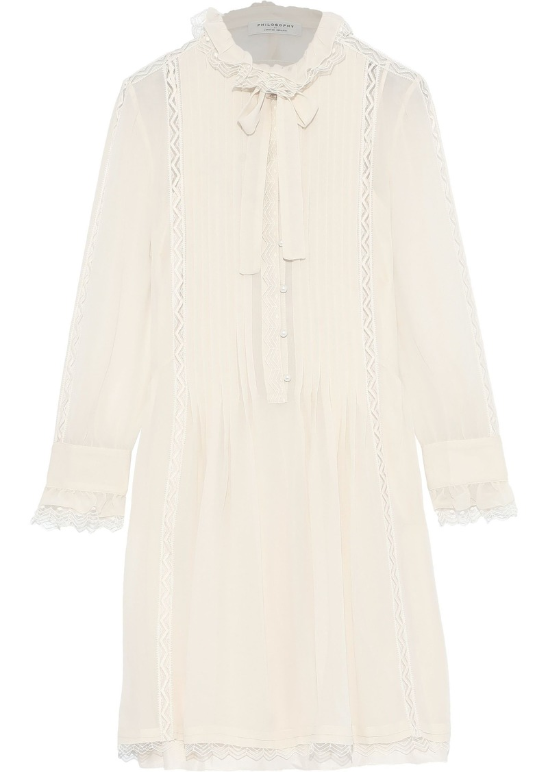 Philosophy Di Lorenzo Serafini Woman Embroidered Tulle-trimmed Pintucked Georgette Mini Dress Ecru