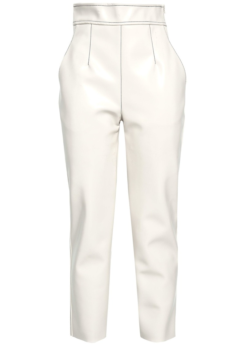 Philosophy Di Lorenzo Serafini Woman Faux Leather Tapered Pants Ivory