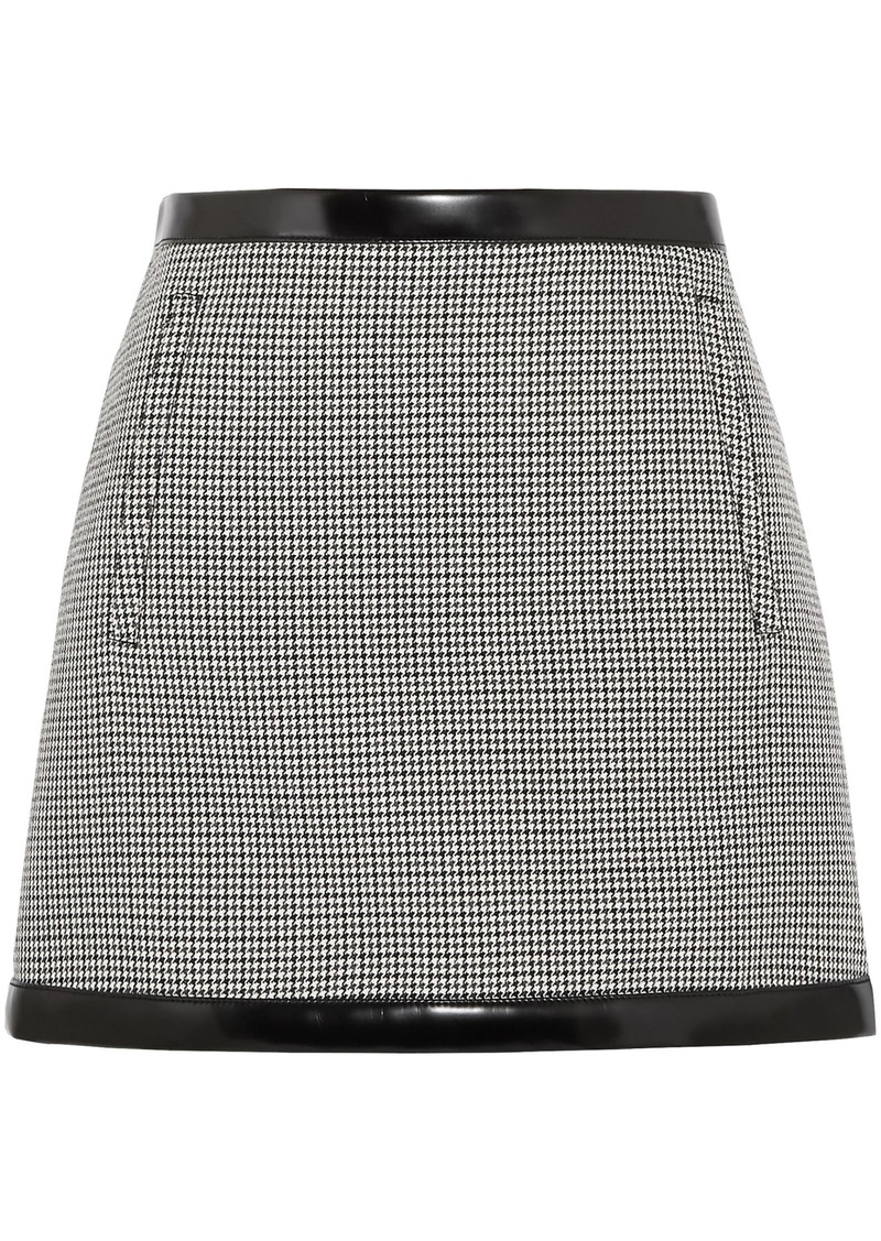 Philosophy Di Lorenzo Serafini Woman Faux Leather-trimmed Houndstooth Wool Mini Skirt Black