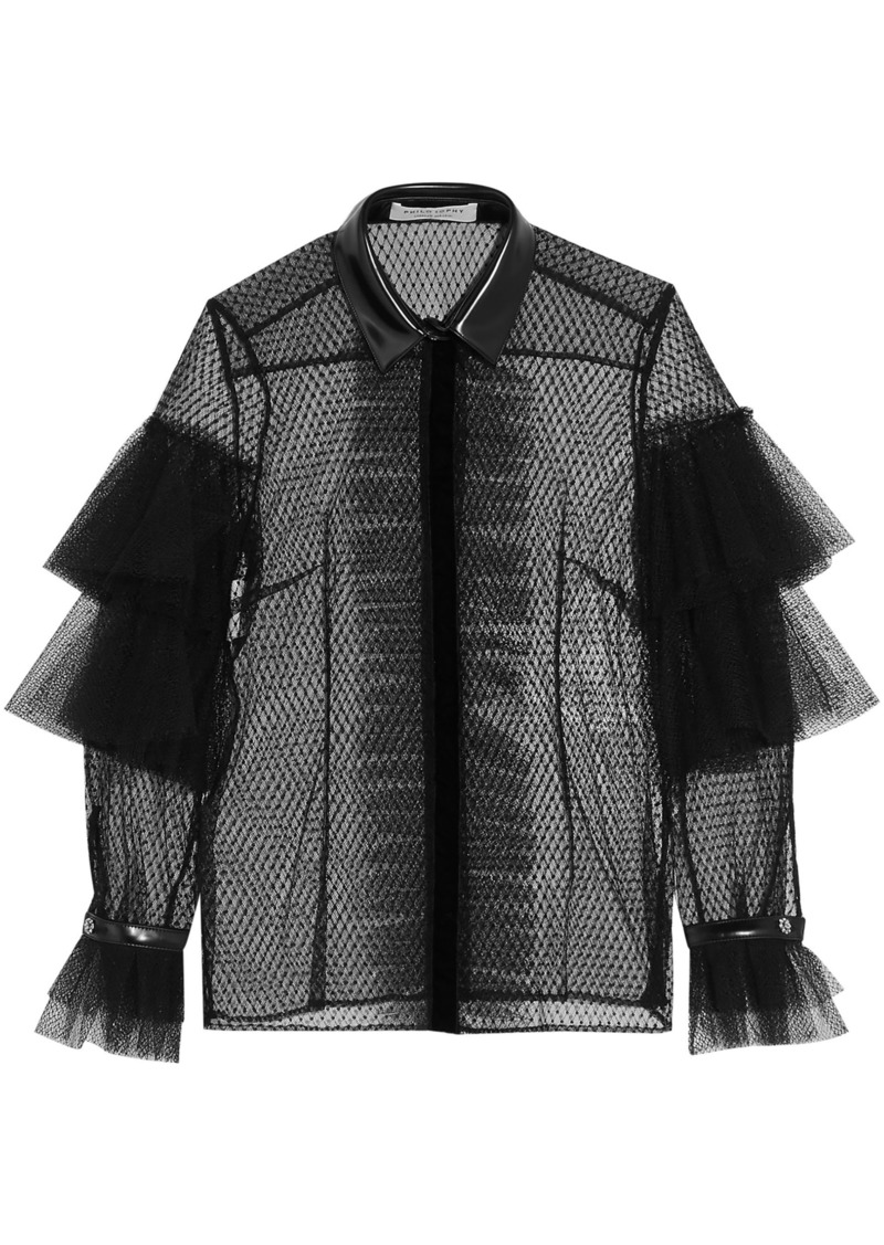 Philosophy Di Lorenzo Serafini Woman Faux Leather-trimmed Ruffled Point D'esprit Shirt Black