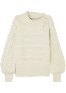 Philosophy Di Lorenzo Serafini Woman Faux Pearl-embellished Cable-knit Sweater Ecru