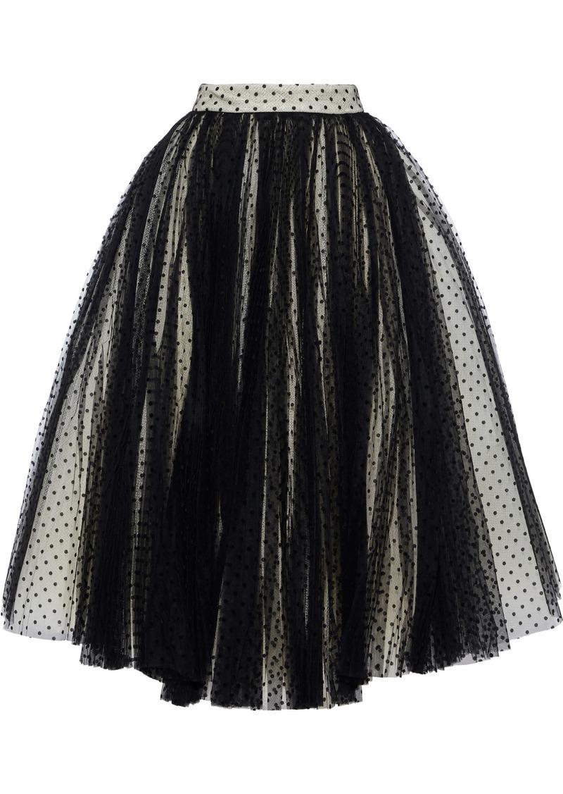 Philosophy Di Lorenzo Serafini Woman Flared Flocked Tulle Maxi Skirt Black