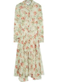 Philosophy Di Lorenzo Serafini Woman Fluted Floral-print Silk-georgette Midi Dress Light Green