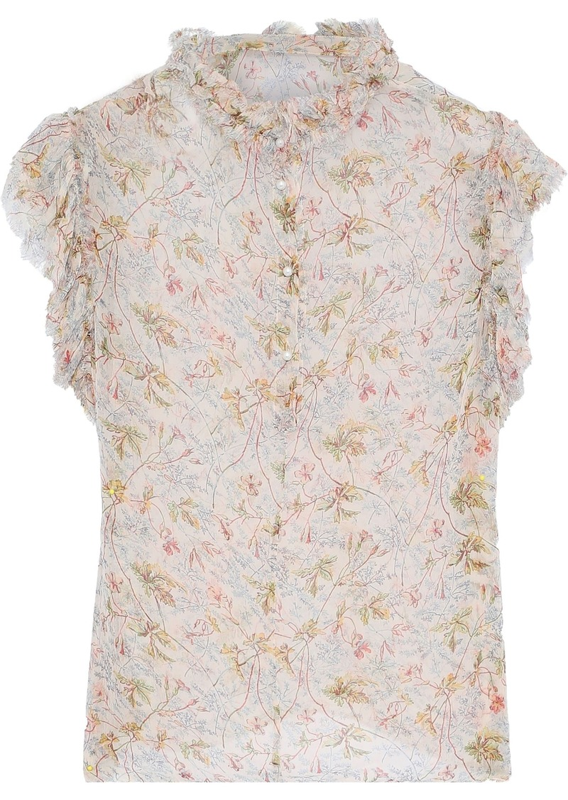 Philosophy Di Lorenzo Serafini Woman Frayed Ruffle-trimmed Floral-print Georgette Blouse Multicolor