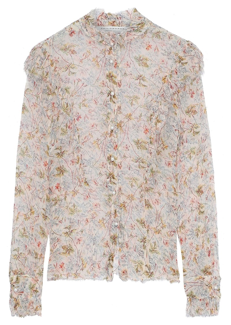 Philosophy Di Lorenzo Serafini Woman Frayed Ruffle-trimmed Floral-print Georgette Blouse White