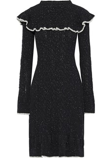 Philosophy Di Lorenzo Serafini Woman Marled Ruffle-trimmed Cable-knit Wool-blend Dress Black