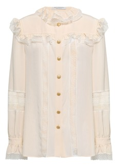 Philosophy Di Lorenzo Serafini Woman Lace And Point D'esprit-trimmed Crepe De Chine Blouse Cream