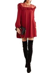 Philosophy Di Lorenzo Serafini Woman Lace-paneled Crepe Mini Dress Red