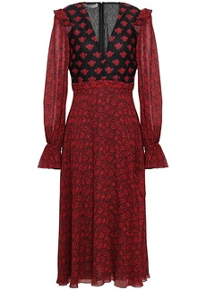 Philosophy Di Lorenzo Serafini Woman Lace-paneled Floral-print Crepe Midi Dress Claret