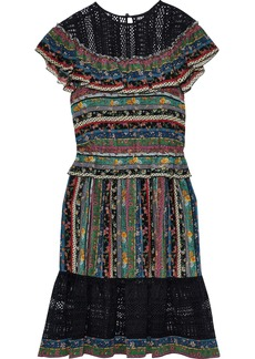 Philosophy Di Lorenzo Serafini Woman Lace-paneled Ruffled Printed Silk Dress Multicolor