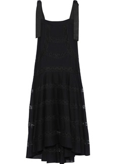 Philosophy Di Lorenzo Serafini Woman Lace-trimmed Cotton-voile Midi Dress Black